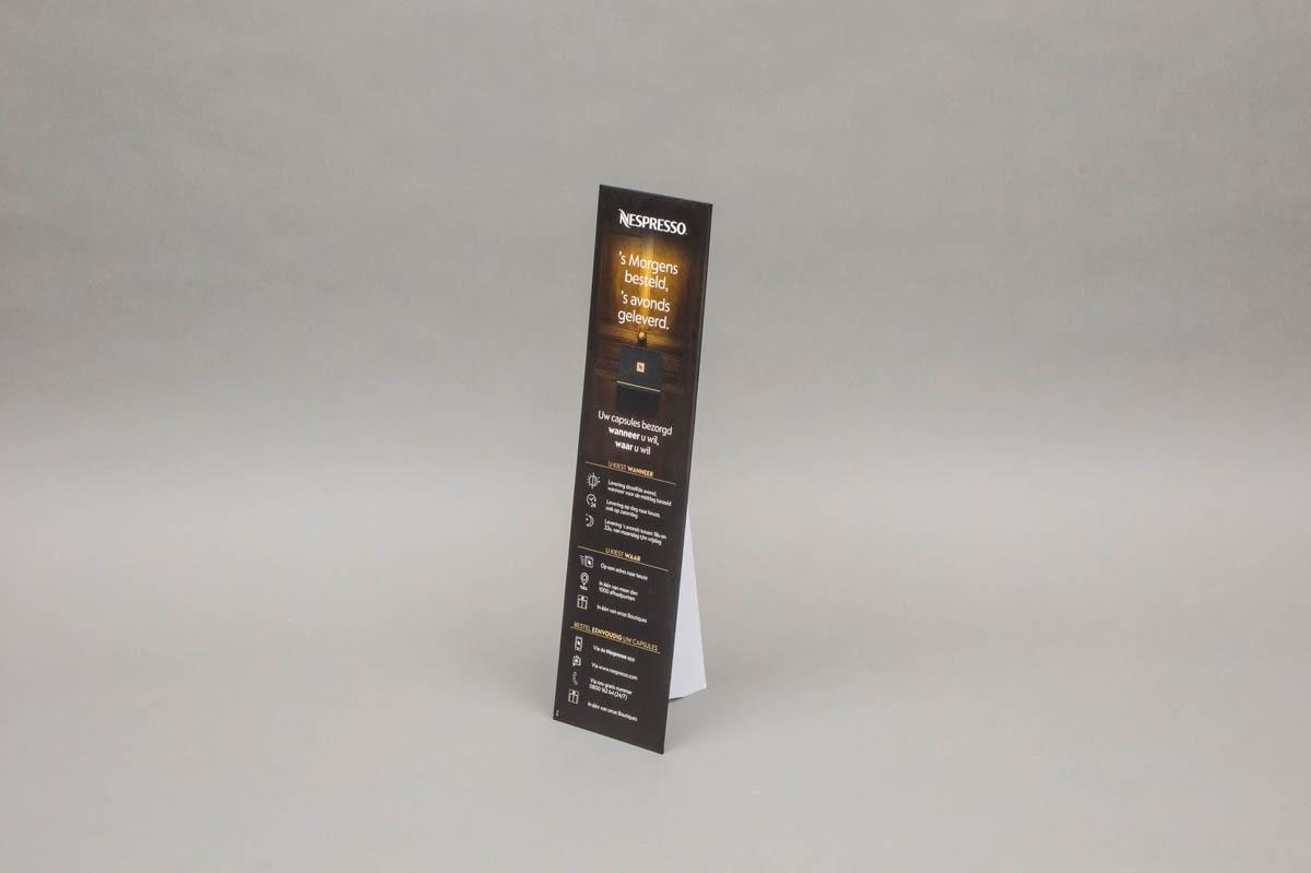 Pancartes / displays / POS materiaal - omkleefde pancarte met rugsteun